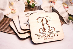 Grpn Italy  - Personalized Coaster Set - Monogram Initial
