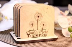 Grpn Italy  - Personalized Coaster Set - Dandelion Center