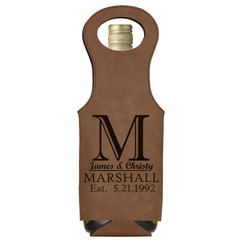 Grpn Italy -  Leather Bottle Tote Bag - Imprint Initial