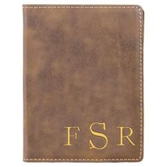 Grpn BE - Leather Passport Wallet Holder -Corner Masculine Monogram