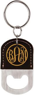 Grpn BE - Personalized Leather Key Chain Bottle Opener - Fancy Monogram