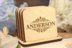Grpn BE - Personalized Coaster Set - Vine Name
