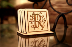 Grpn BE  - Personalized Coaster Set - Floral Initial