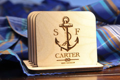 Grpn BE  - Personalized Coaster Set - Anchor