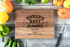 Walnut Personalized Cutting Board ~ Worlds Best Grandpa