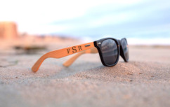 Personalized Bamboo Sunglasses - Masculine Monogram