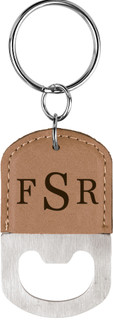 LUX - Personalized Leather Key Chain Bottle Opener - Masculine Monogram