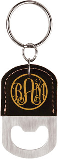 LUX - Personalized Leather Key Chain Bottle Opener - Fancy Monogram