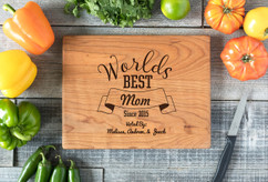 Cherry Personalized Cutting Board ~ Worlds Best Mom