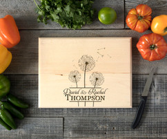 Cluster Dandelion Personalized  Cutting Board BW