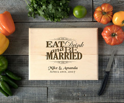 Eat Drink & be Married Personalized Cutting Board BW