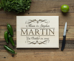 Name Couple Script Personalized Cutting Board BW