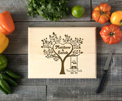Two Love Birds Personalized Cutting Board BW