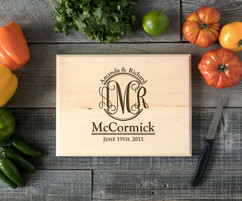 Couple Monogram Personalized Cutting Board BW