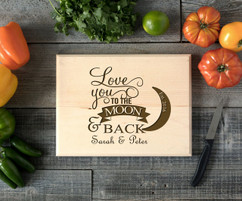 To the Moon & Back Personalized Cutting Board BW