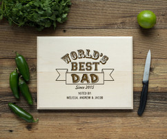 Worlds Best Dad Personalized Cutting Board BW