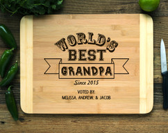 Worlds Best Grandpa Personalized Cutting Board HDS