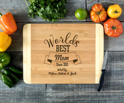 Worlds Best Mom Personalized Cutting Board HDS