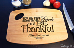 Handle Eat Drink Be Thankful Personalized Cutting Board