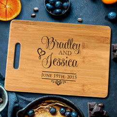 Handle Stacked Names Personalized Cutting Board