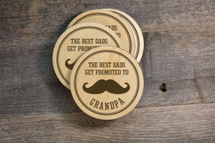 Personalized Coaster Set - Promoted to Grandpa