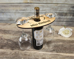 Personalized Wine Caddy & Glass Holder - I Teach