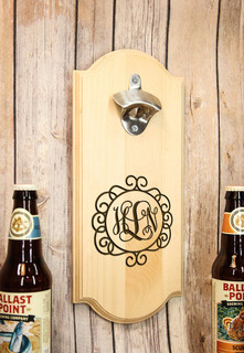 Personalized Wall Mount Bottle Opener - Circle Vine Monogram