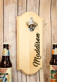 Personalized Wall Mount Bottle Opener - Side Name