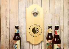Personalized Wall Mount Bottle Opener - Arrow Circle Monogram