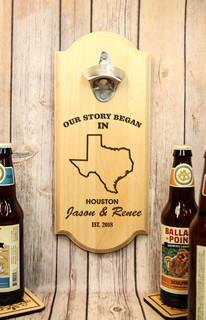 Personalized Wall Mount Bottle Opener - Our Story Began