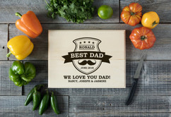 Basswood Personalized Cutting Board - Best Dad Mustache