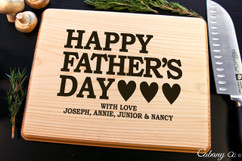 Basswood Personalized Cutting Board - Father's Day Hearts