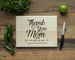 Basswood Personalized Cutting Board - Thank You, Mom