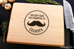 Basswood Personalized Cutting Board - Promoted to Grandpa