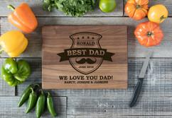 Walnut Personalized Cutting Board - Best Dad Mustache