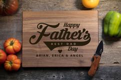 Walnut Personalized Cutting Board - Father's Day Baseball Swirl