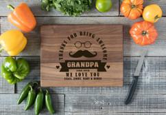 Walnut Personalized Cutting Board - Awesome Grandpa