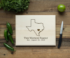 Home State Personalized Cutting Board BW