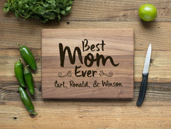 Walnut Personalized Cutting Board - Best Mom Ever