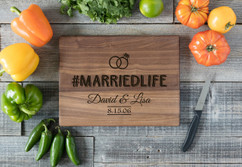 Walnut Personalized Cutting Board - #MARRIEDLIFE