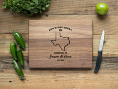 Walnut Personalized Cutting Board - Our Story Began