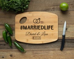 Handle Personalized Cutting Board - #MARRIEDLIFE