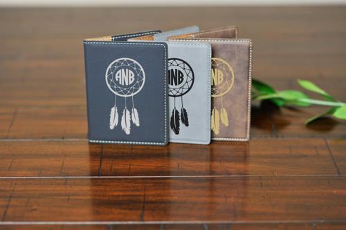 e67dd7131 Personalized Leather Passport Wallet Holder - Dreamcatcher Monogram ...