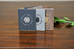 Personalized Leather Passport Wallet Holder - Arrow Circle Monogram