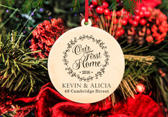 Grpn Spain - Engraved Christmas Ornament -  Our First Home Wreath