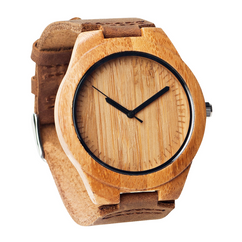 Grpn Spain - Wood Engraved  Watch W#61 - Bamboo