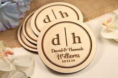 Grpn Spain - Personalized Coaster Set - Two Initial Family
