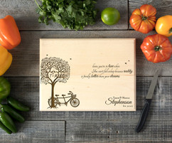 Bike Tree Personalized Engraved Cutting Board BW