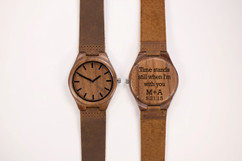 Wood Engraved Watch W#69