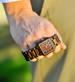 Wood Engraved Watch W#96
